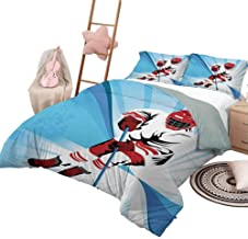 DayDayFun Quilt Set with Sheets Hockey for Boys and Girls Hockey Player Makes a Strong Shot on Goal Rival Illustration Abstract Backdrop Full Size Blue Red White