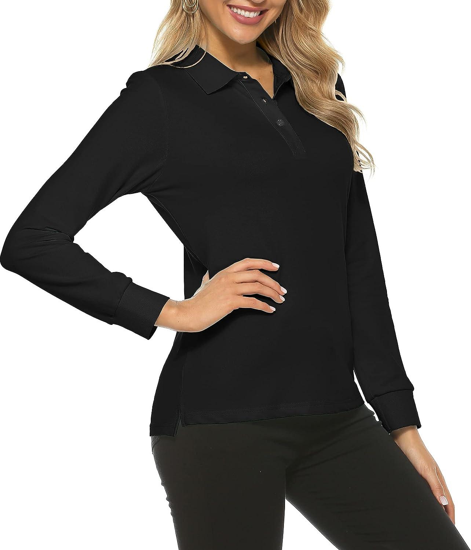 AjezMax Women's Long Sleeve Golf Shirts Quick D Milwaukee Mall Polo Lightweight online shopping