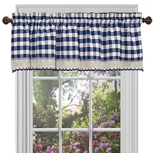 "Achim Home Furnishings Valance Buffalo Check Window Curtain, 58"" x 14"", Navy & Ivory"