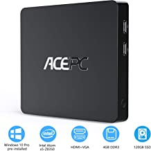 ACEPC T11 Mini PC Intel Atom Z8350 Windows 10 Pro (64-bit) Fanless Mini Desktop Computer, 4GB DDR + 32GB eMMC/Internal 128GB 2.5-Inch SATA SSD, Support for 4K HD, 2.4/5G WiFi, Gigabit Ethernet