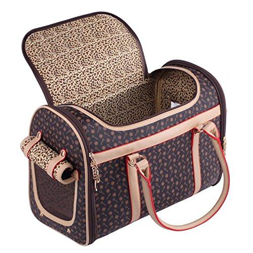 BEST IN DE Groß Transporttasche Hundetasche Katzentasche Tragetasche für kleine Hunde und Katzen bis 5kg Hundebox Katzenbox Tragebox Chihuahua 43x30x23cm PC19 (Brown)