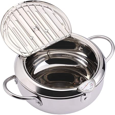 EAMATE Tempura Fry Pot, Stainless Steel Tempura Deep Fryer with Thermometer, 8 Inches, Mini Size Perfect for 2-3 People
