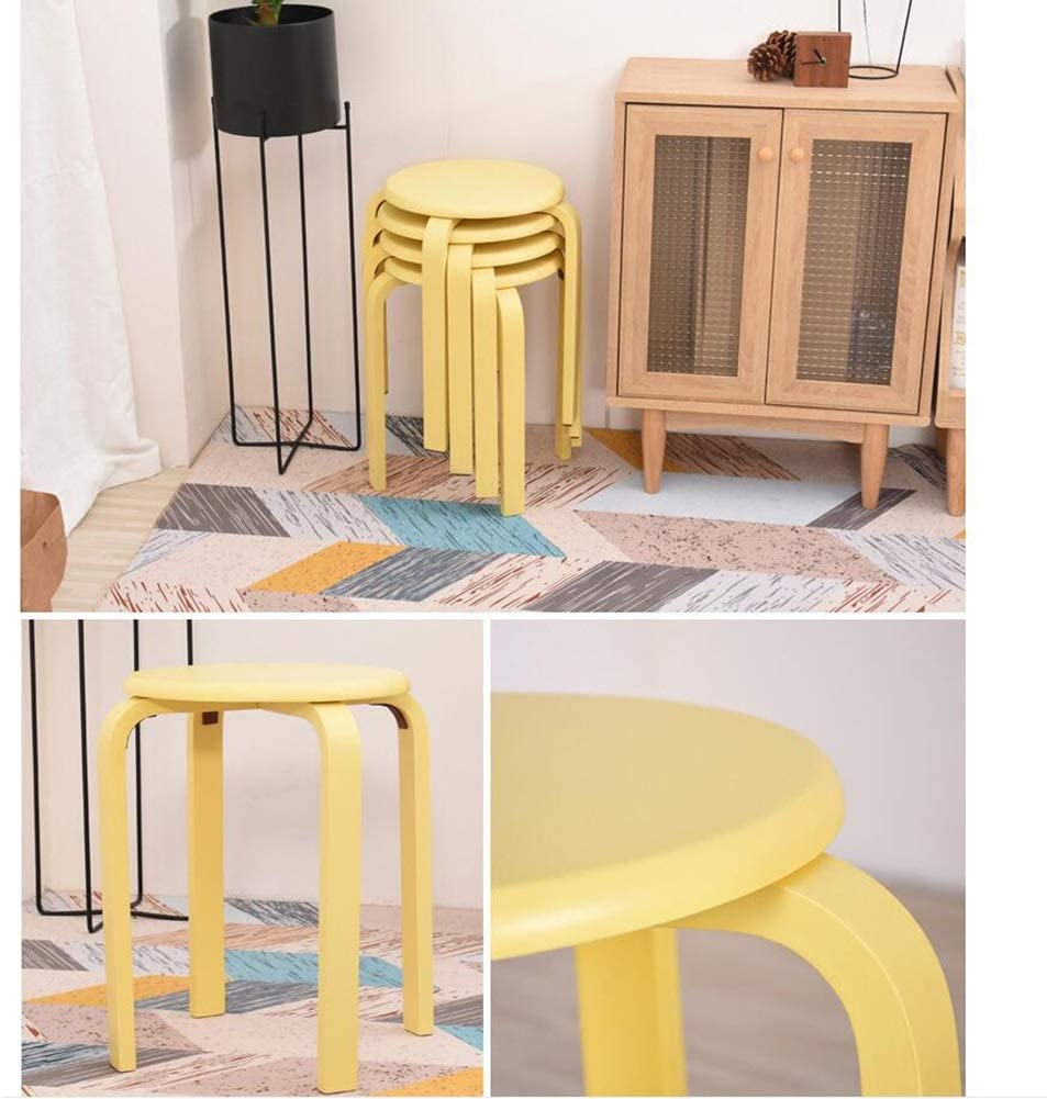 GLJJQMY Tabouret Tabouret Couleur Bonbon Tabouret en Bois Anti-dérapant en Caoutchouc Bois empilable Salon Set de 4 Chaise empilable (Color : Pink) Yellow