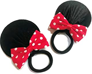 Elastic Band Red Polka Dot Mouse Ears Baby Bow Clips for Baby Girls Toddlers Hair Clips Costume Accessory Headband: M3 (Band 7 cm)