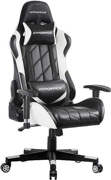 游戏椅子赛车风格办公室人体工学会议执行经理工作椅皮革高背可调旋转电脑办公桌任务椅倾斜 E 运动椅子白色