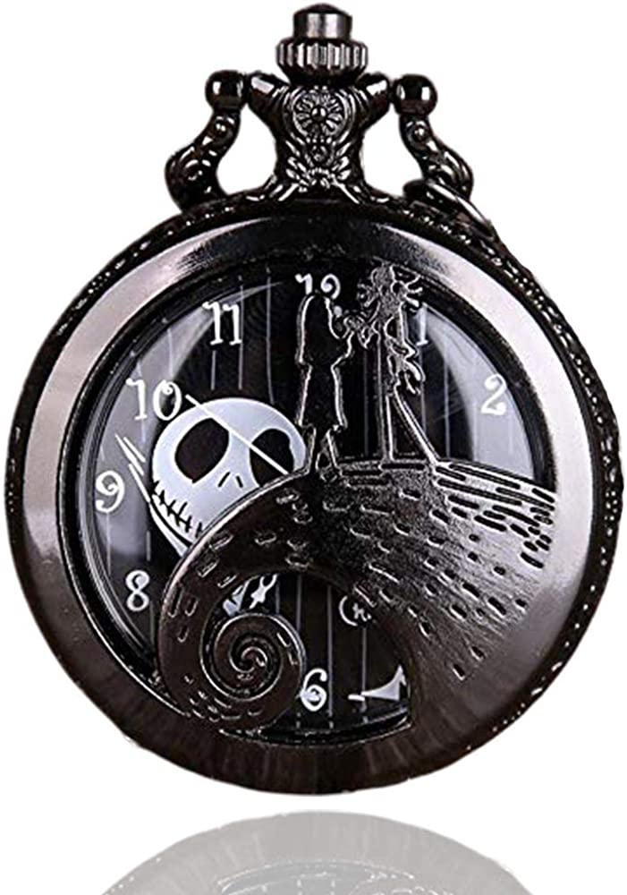 The Nightmare Before Christmas Pocket Watch with Chain Men Necklace : Clothing, Shoes & Jewelry
