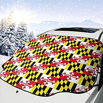 BIAN-HOODIE Maryland State Flag Car Windshield Snow Cover for Car Front Windscreen Ice Cover Protector Waterproof Car Windshield Sun Shade Half Car Cover Fit Most Car, SUV, Truck, Van