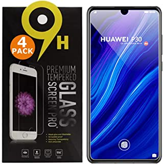 Screen Protector for Huawei P30 [4 Pack] by BRCS | 9H Hardness, Impact and Scratch Resistant, Shatterproof, Anti Fingerpri...