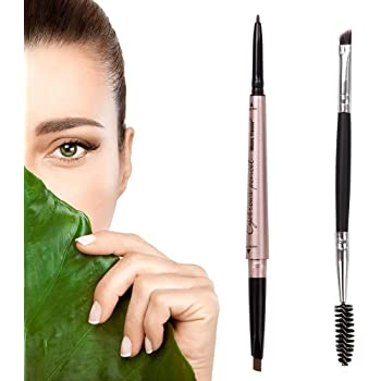 HeyBeauty Eyebrow Pencil with Brow Brush, Double Ended Eyebrow Pen, Automatic Makeup Cosmetic Tool (dark brown)