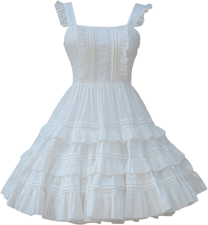 Partiss Women Classic JSK Lace Cotton Ruffled Bow Lolita Jumper Skirt Dress