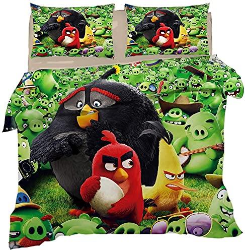 Angry Birds - Juego de cama infantil (135 x 200 cm, funda nórdica de 135 x 200 cm), diseño de dibujos animados, color rojo
