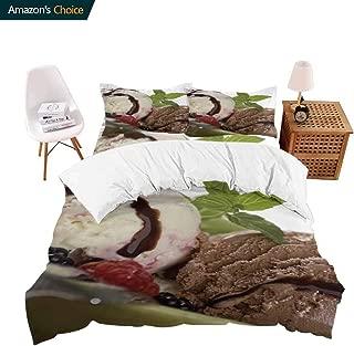 shirlyhome Bedding 4 Piece Bed Sheet Set Fruit Chocolate ice crea Mint Shoot Crisp Bed Linen Full
