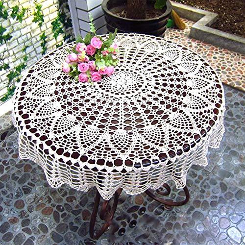 Crochet De Macramé Mantel Redondo - Blanco Hecho a mano Mantel de algodón...