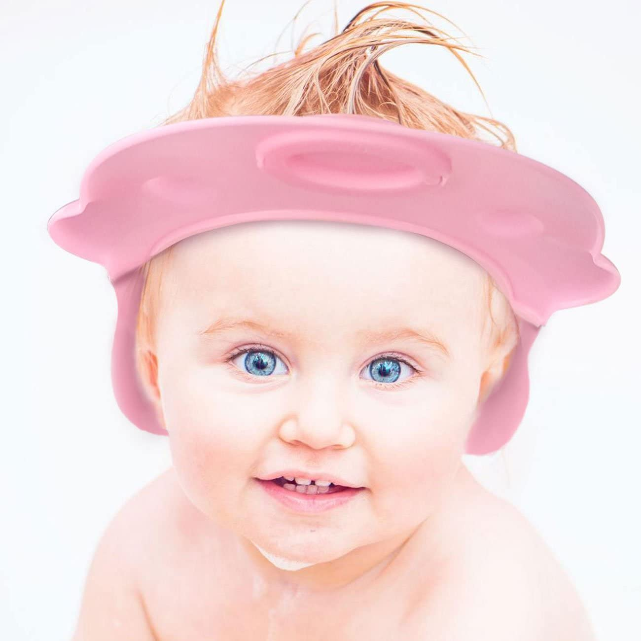 2 Pack Baby Bath Cap (Blue and Pink Smile face) with Extra Ears Protectors …