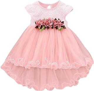 Summer Toddler Kids V/êtements B/éb/é Filles erthome Robe de princesse imprim/ée en tulle et dentelle avec dentelle 0-24 Mois Bleu, 0-6 Mois