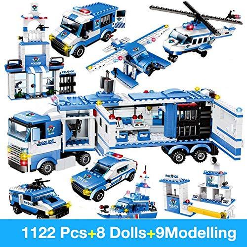 LCZMQRCLMZRQ Bloques de construcción Robot City policía Juguetes para niños Bloques de Camiones educativos compatibles con Armas ED Aviones de diseño de vehículos