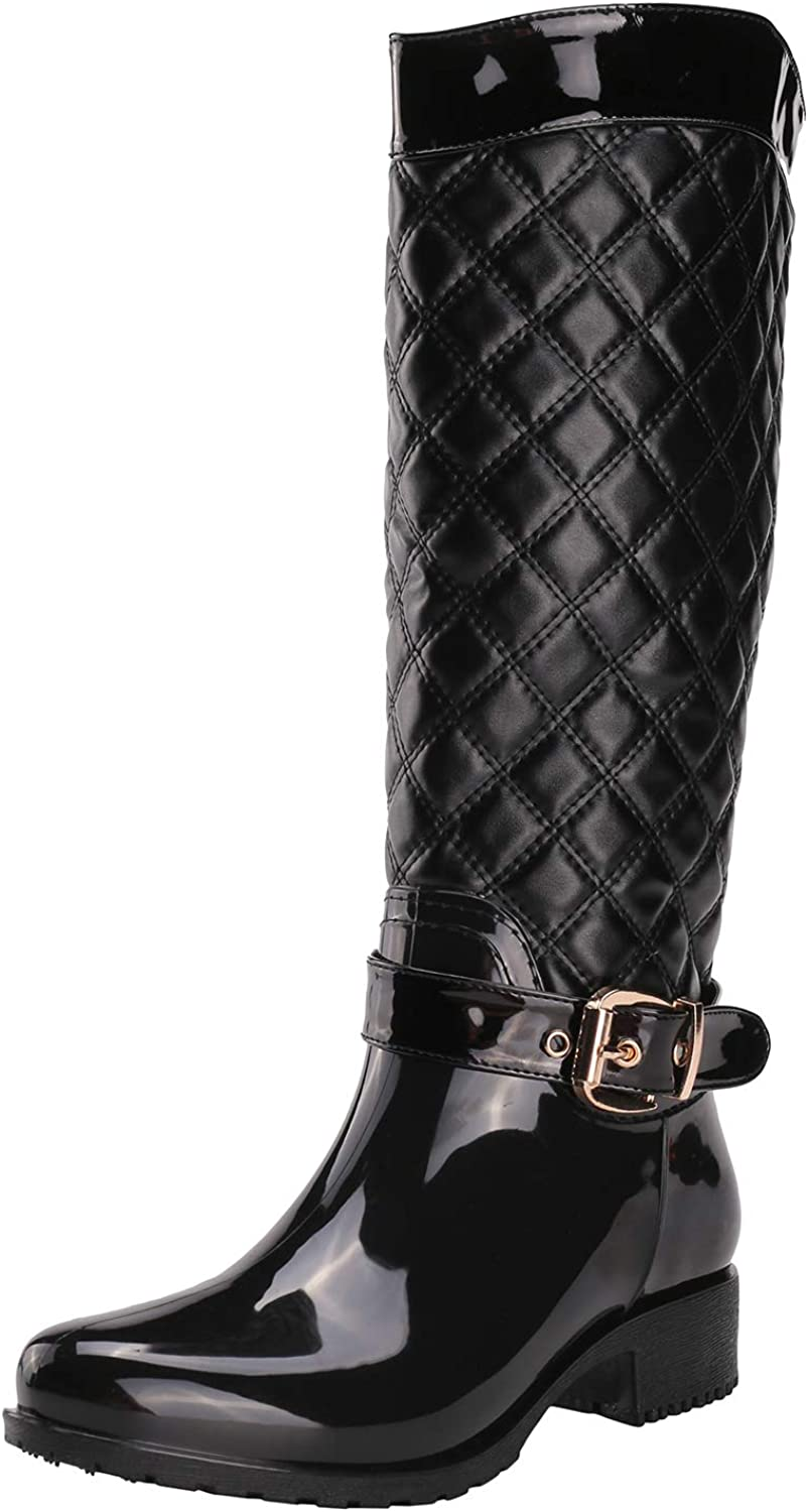 Alexis Leroy Women Motorcycle Knee High Checkered Pattern Side Zip Rubber Rain Boots