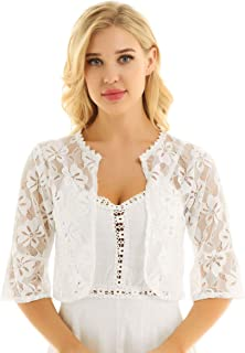 pujingge Womens Bell 3//4 Sleeves Front Tie Lace Bolero Cropped Shrug Tops