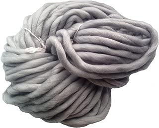 Zituop Super Chunky Roving Big Yarn for Hand Knitting Crochet, 250g, 8.8 Ounze (Light Grey)
