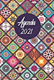 Agenda mandala 2021: Mandalas para colorear, agenda mensual y semanal, agenda 2021-2022 semana vista, agenda A5