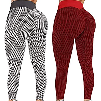 Amazon - 80% Off on 2PC Womens High Waisted Yoga Pants Scrunched Booty Leggings Workout Running Butt Lift