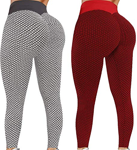 ReooLy Womens Bubble Textured Stretch Yoga sPants Gym Sports Running Tight Honeycomb Small Size Legging(Wine,Small)