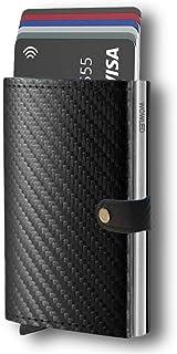 WOWLED RFID Blocking Card Holder for Men Wallet Slim Pop Up Card Holder Carbon Fiber Card Case (Up to 12 Cards)