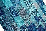 Moderner Teppich Designer Teppich Orientteppich Wohnzimmer Teppich mit Karo Muster in Türkis Blau Größe 200 x 290 cm - 3