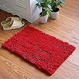 YIQI Alfombra de baño de Felpa de Microfibra de Chenilla, Suave y acogedora, Agua súper Absorbente, Antideslizante, Gruesa para Dormitorio de baño (60x40 cm, Rojo)