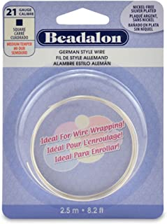 Beadalon Square Silver Plated 21-Gauge Wire, 2-1/2-Meters