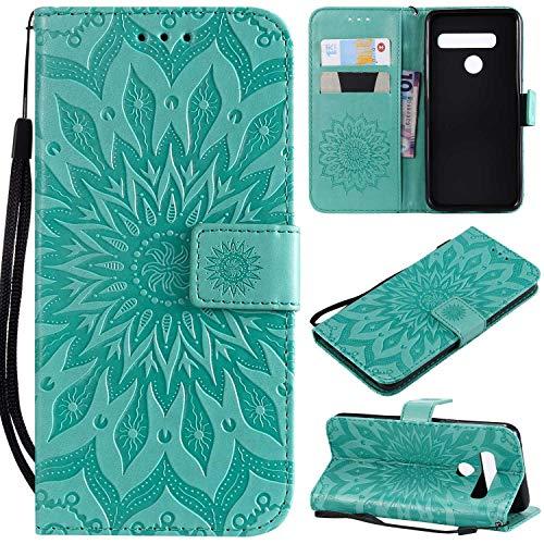 KKEIKO Hülle für LG G8 ThinQ, PU Leder Brieftasche Schutzhülle Klapphülle, Sun Blumen Design Stoßfest Handyhülle für LG G8 ThinQ - Grün