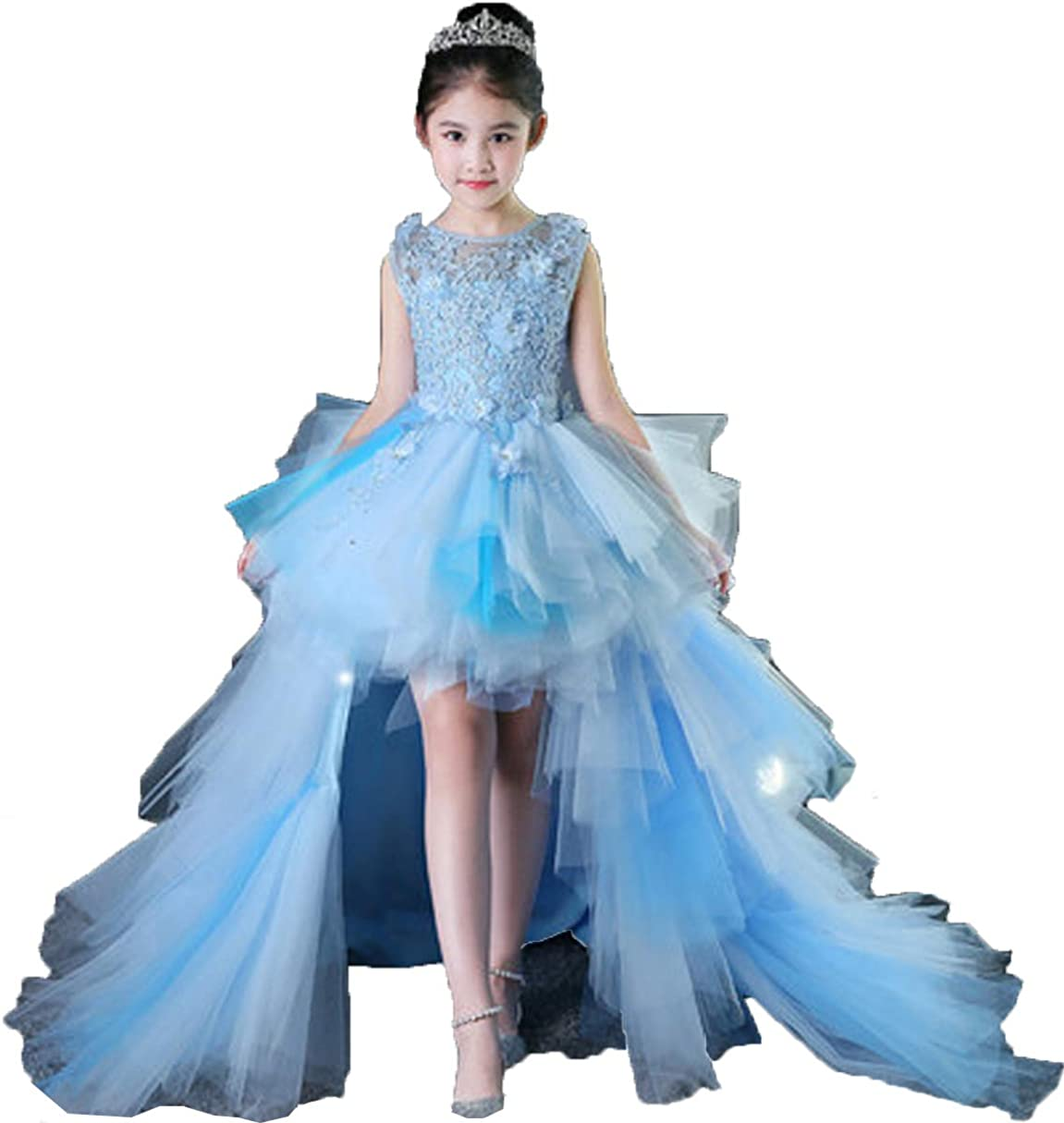 Meijia Hi-Low Girls Pageant Dresses with Detachable Train Lace Flower Girl Dress Tulle Kids First Communion Gowns ME079