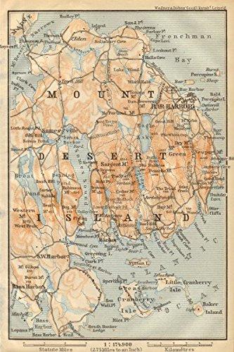 MOUNT DESERT ISLAND. Maine. Bar Harbor. BAEDEKER, 1904 antique map