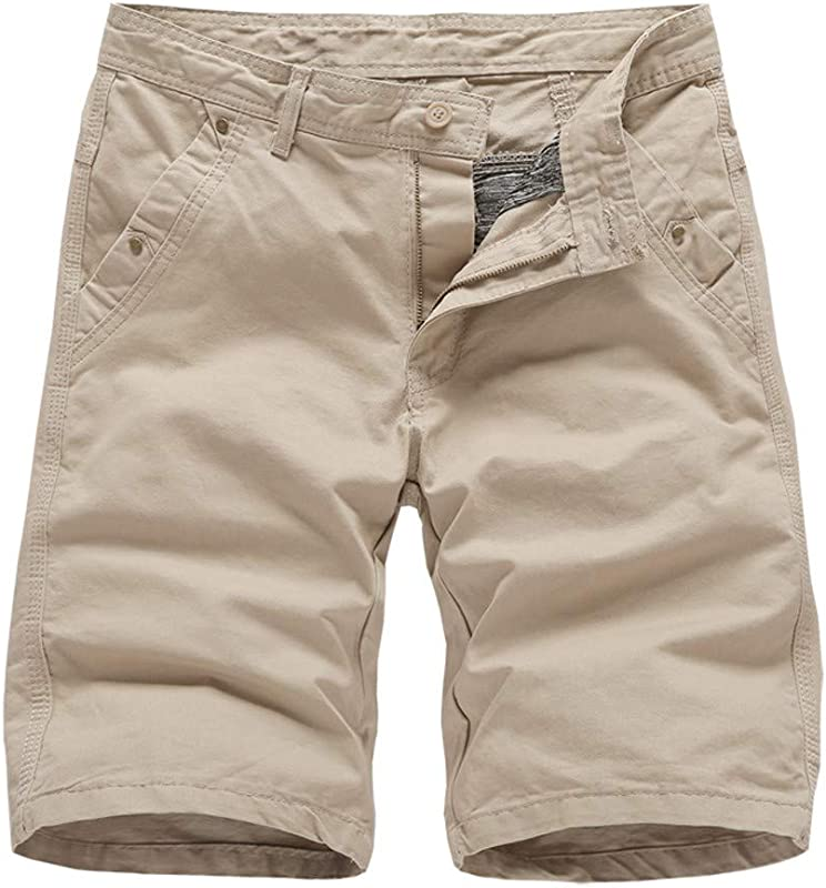 Men S Casual Pure Color Outdoors Pocket Beach Work Trouser Cargo Shorts Pant B Khaki 32