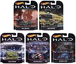2017 Hot Wheels Retro Entertainment HALO - UNSC Scorpion, UNSC Warthhog, UNSC Gungoose, Banished Wraith, Covenant Ghost - Complete Set of 5!