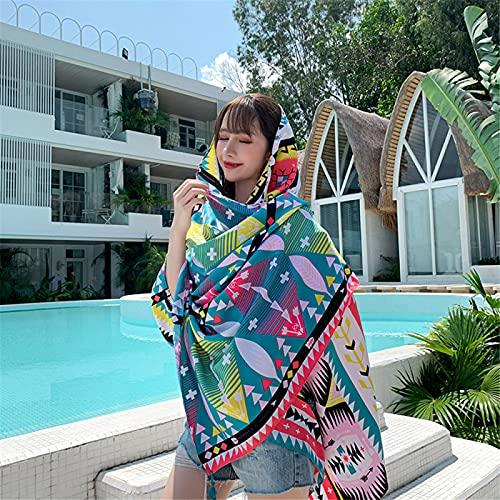 RZHIXR Toalla De Playa Étnica De Verano para Mujer, Bufanda De Seda De Viaje De Moda De Mantón, Bufanda Retro De Protección Solar (90X180Cm)