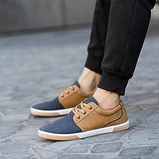 Hemlock Flat Shoes Mens, Men's Casual Shoes Sport Shoes Men Lace Up Loafers Moccasins Male Shoes (US:7.5, Blue)