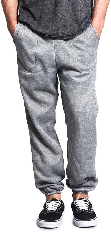 Victorious GStyle USA Men's Elastic Cuff Fleece Sweatpants  HILLSP  Grey  Large  GG1H