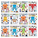 Kicko Robotic Sticker Sheets - Set of 12 Make a Robot Character Stickers in Assorted Colors for...