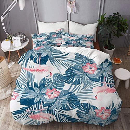 Juego de funda nórdica para ropa de cama, 3 piezas, funda de edredón con 2 fundas de almohada, flamenco floral, acuarela, plantas tropicales, hojas de flores, microfibra ultra suave, edredón de cama d