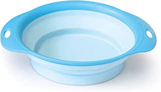 Dog Travel Bowl,Blue - Small Foldable Lightweight Pet Bowl for Food & Water Ideal for Walking, Hiking, Camping, Travellin...