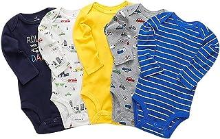 Paquete de 5 Bebé Body De Manga Larga Niños Mameluco Camisetas Paquete de Pijama Niñas Mono de Algodón para 3-24 Meses