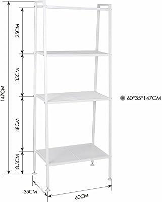 House of Quirk Ladder Shelf 4-Tier Bookshelf Plant Flower Stand Storage Rack Organizer Modern Shelves Shelving Bookcase Iron Stable Metal Frame Furniture Home for Living Room (White(148x60x35cm)