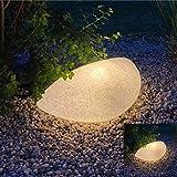 Luz LED de jardín aspecto de piedra ovalada mármol natural. Set 2 unidades 63x38x19cm. 4x bombillas LED E27 con sensor crepuscular incl. Luz blanca cálida (2700K). Cable 2m con enchufe