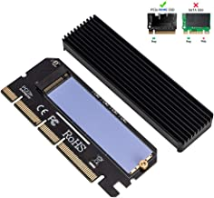 QNINE NVME Adapter with Heat Sink, M.2 SSD Key M to PCI Express Expansion Card, Support PCIe x4 x8 x16 Slot, Support 2230 2242 2260 2280, Compatible for Windows 7 8 10