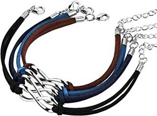 2pc/4pc Handmade Wristband Rope Matching Friendship Multi Color Leather Infinity Bracelet