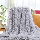 SatisInside USA Luxurious Plush Faux Fur Throws Bed Blankets, Extra Soft Cozy Warm, Fluffy Comfortable Throws Blankets for Bed Couch Kids (50' x 62') ,Classic Gray
