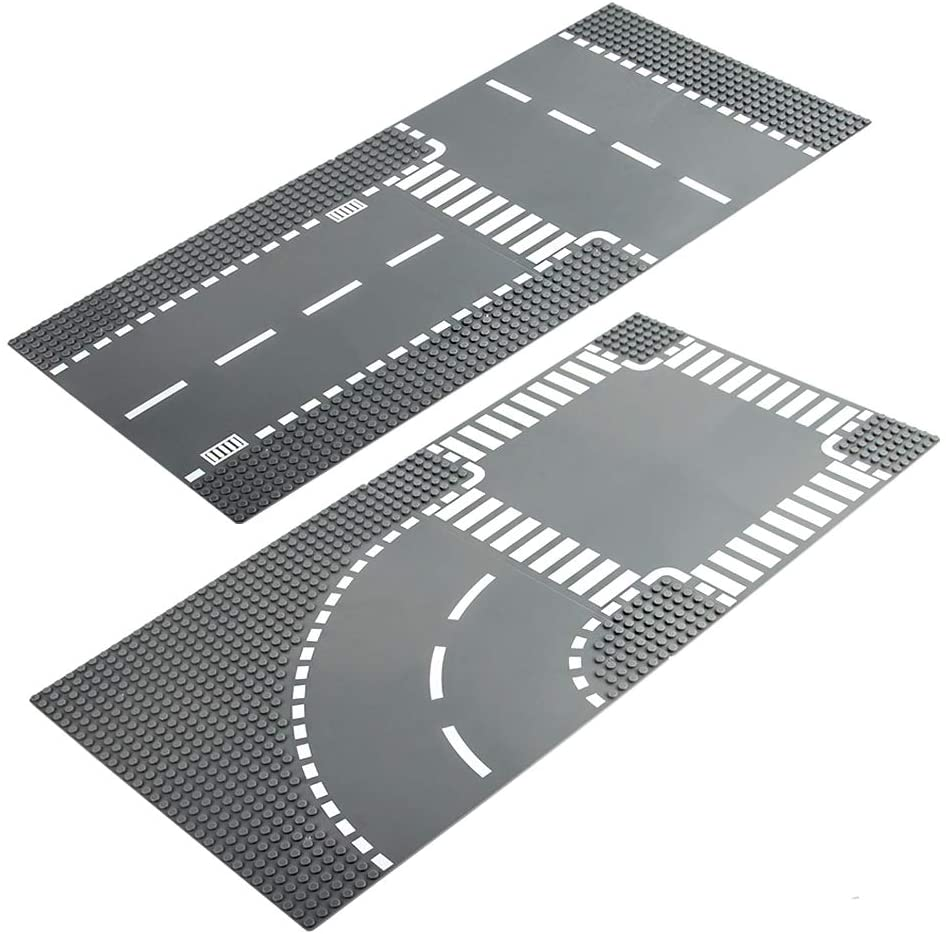 LVHERO 4 City Street Plates Road Baseplates for Lego City, Straight and T Junction 60236, Curve and Crossroad 60237, Building Kit