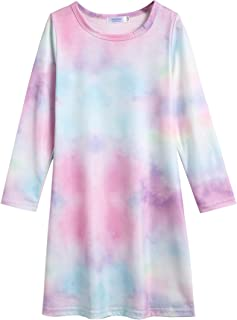 Arshiner Girls Dress Cotton Long Sleeve Solid Color Casual T-Shirt Dress