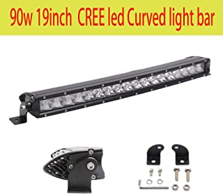 90W CREE Curved LED Light Bar 19inch single Row Spot Flood Combo Driving Lamp LED Work Light for Off Road Truck Car ATV SU...